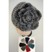 72 Units of Wider Hand Knitted Ear Band w/ Flower [Metallic Accent]