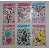 """144 Units of 7.75""""x10"""" Puffy Sticker Sheet-6 Styles"""
