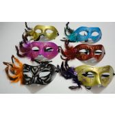 72 Units of Masquerade Mask--Feathers on Side