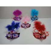 72 Units of Masquerade Mask--Metallic with Feather - Masks