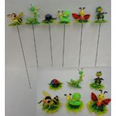 144 Units of Yard Stake [Insects on Leaves/Lily Pad Assortment] - Garden Decor