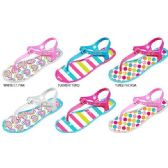 36 Units of GIRLS COLORBLOCK JELLY T-STRAP SANDALS WITH PRINTED FOOTBED