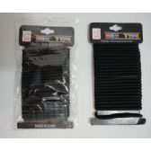 72 Units of 24pc Black Elastic Bands - Hair Accessories