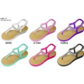 36 Units of GIRLS PCU THONG SANDAL WITH RHINESTONES EMBELLISHMENT - Girls Flip Flops