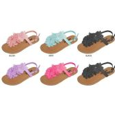 36 Units of GIRLS T-STRAP SANDAL WITH FLOWERS AND RHINESTONE - Girls Flip Flops