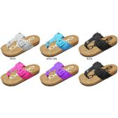 36 Units of GIRLS THONG FOOTBED SANDALS WITH MATCHING BUCKLE AND PRINTED FOOTBED - Girls Flip Flops