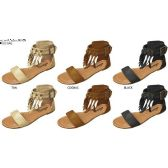 36 Units of GIRLS MICROSUEDE FRINGE SANDAL WITH ANKLE CUFF AND STUD DETAIL