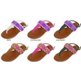 36 Units of GIRLS PU THONG SANDAL WITH BEADED UPPER