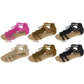 36 Units of GIRLS MICROSUEDE GLADIATOR SANDAL WITH FRINGE AND STUDS