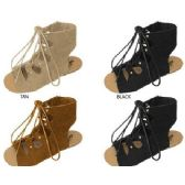 36 Units of GIRLS MICROSUEDE GLADIATOR SANDAL WITH LACE UP DETAIL