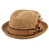 24 Units of STRAW PORK PIE HATS - Fedoras, Driver Caps & Visor