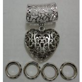 72 Units of Scarf Charm: 3D Scrollwork Heart - Necklace