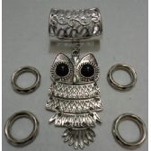 72 Units of Scarf Charm: Owl with Black Stone Eyes - Necklace