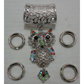 72 Units of Scarf Charm: Owl with Colored Rhinestones - Necklace