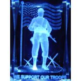 12 Units of 3D Laser Etched Crystal-Support Our Troops