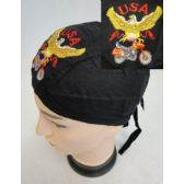 72 Units of Embroidered Skull Cap [Eagle with Bike] - Bandanas