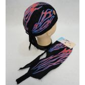 72 Units of Skull Cap-Red & Blue Flames with Maltese Cross - Bandanas