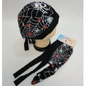 72 Units of Skull Cap-Solid WhiteSkull Cap-Web with Red & White Spiders - Bandanas
