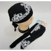 72 Units of Skull Cap-White Scroll Work with Skulls - Bandanas