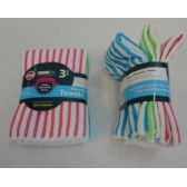 48 Units of 3 Piece Microfiber Towel Set [Striped]
