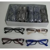 120 Units of Reading Glasses-Wide Rim with Rhinestones - Reading Glasses