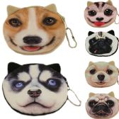 600 Units of COIN PURSES IN DOG / ASSOERTED COLORS & PRINTS