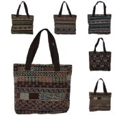 60 Units of AZTEC DESIGN TAPESTRY TOTE IN ASSORTED PRINTS (DIMENSIONS: 11 X 15 X 4)