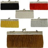 48 Units of LARGE EVENING BAGS W/STONES PLEATED ASST COLORS (DIMENSIONS: 5 X 8.5)
