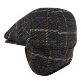 12 Units of PLAID WOOL FLAT IVY CAPS W/EARMUFF