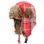 24 Units of WINTER FAUX FUR PLAID TROOPER HAT