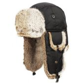 4 Units of SUPER SOFT GENUINE RABBIT FUR BUMBER TRAPPER WINTER HATS IN BLACK