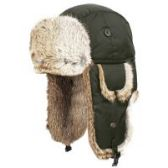 4 Units of SUPER SOFT GENUINE RABBIT FUR BUMBER TRAPPER WINTER HATS IN OLIVE