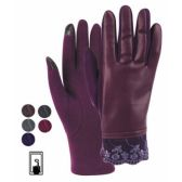 12 Units of LADIES FAUX LEATHER TOUCH SCREEN GLOVE - Conductive Texting Gloves