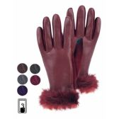12 Units of LADIES FAUX LEATHER GLOVE W/SCREEN TOUCH - Conductive Texting Gloves