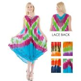 12 Units of Short Sleeve Tie Dye Embroideried Umbrella Dresses