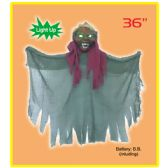 "12 Units of 36"" hanging ghost with light up eyes"