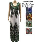 96 Units of Peacock Long Dress with V Neck Assorted