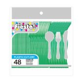 96 Units of 48 Count 8# cutlery green - Plastic Utensils