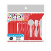96 Units of 48 Count 8# cutlery red - Plastic Utensils