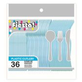 96 Units of 48 Count/8#cutlery pastel blue - Plastic Utensils