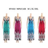 48 Units of Women's Fashion peacock Long Summer Dress In Assorted Color And Sizes - Womens Sundresses & Fashion