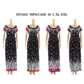 48 Units of Womens Fashion Summer Dress Black Floral Boat Kneck Assorted Color And Size