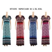48 Units of Womens Fashion Long Summer Dress With A Gathered Waist In Assorted Color And Size