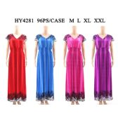 48 Units of Womens Fashion Long Summer Dress In Assorted Solid Color With Floral Shoulder And Hem And Gathered Waist