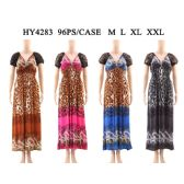 48 Units of Womens Fashion Summer Dress Leopard Print In Assorted Color And Size