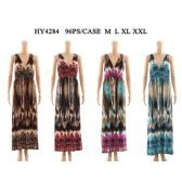 48 Units of Womens Fashion Summer Dress V Neck In Assorted Color And Size