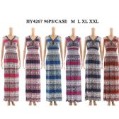 48 Units of Womens Fashion Long Summer Dress In Striped Pattern V Neck Assorted Color And Size