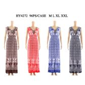 48 Units of Womens Fashion Long Summer Dress Gathered Waste V Neck In Assorted Color And Size
