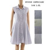 48 Units of Womens Fashion Summer Dress Striped Colared Button Down