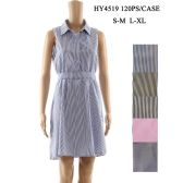 36 Units of Womens Fashion Summer Dress Striped Collared Button Top With Gathered Waist